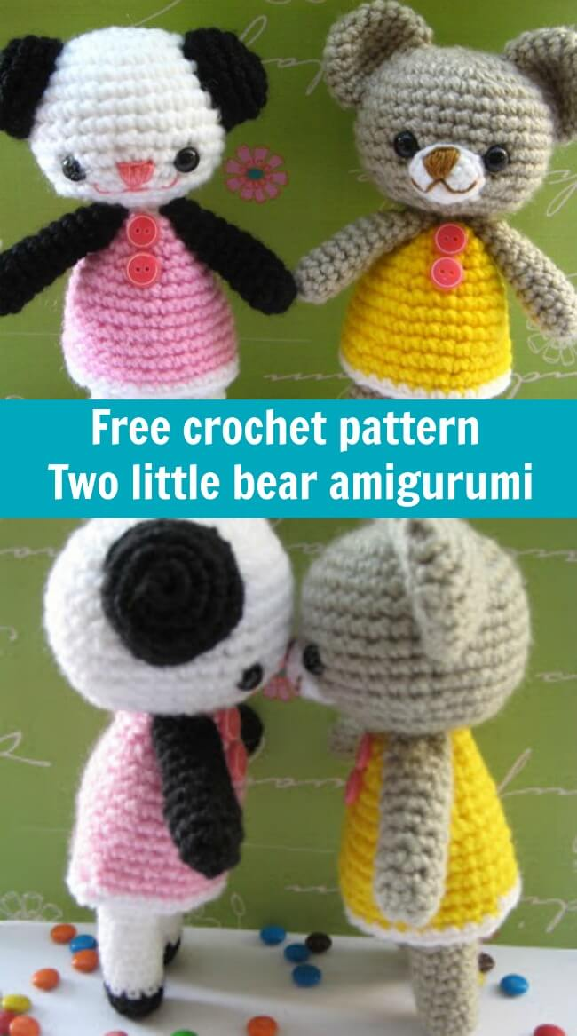 free crochet pattern two little bear amigurumi