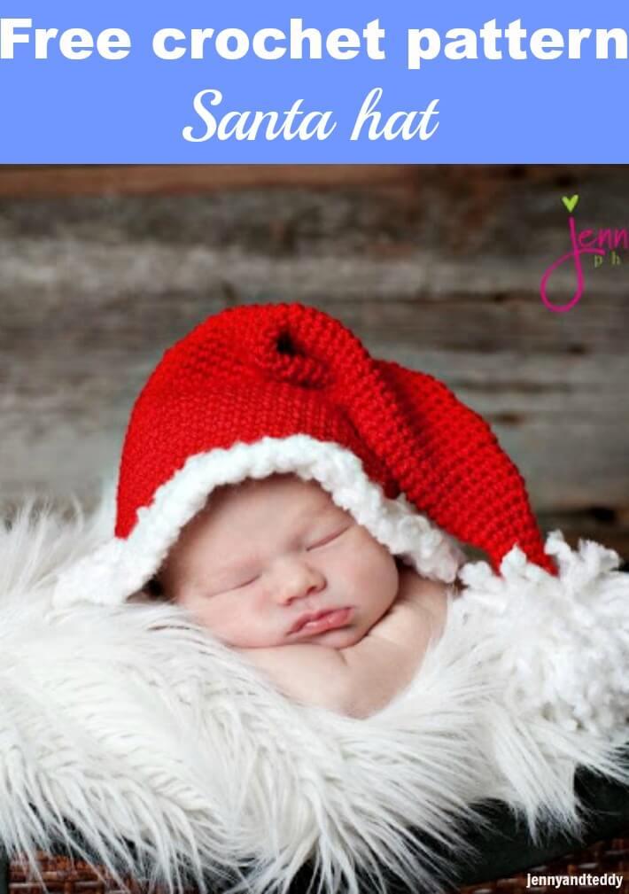 santa hat free crochet pattern by jennyandteddy