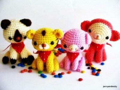 animal friends amigurumi crochet pattern, tiger,cat,pig,monkey