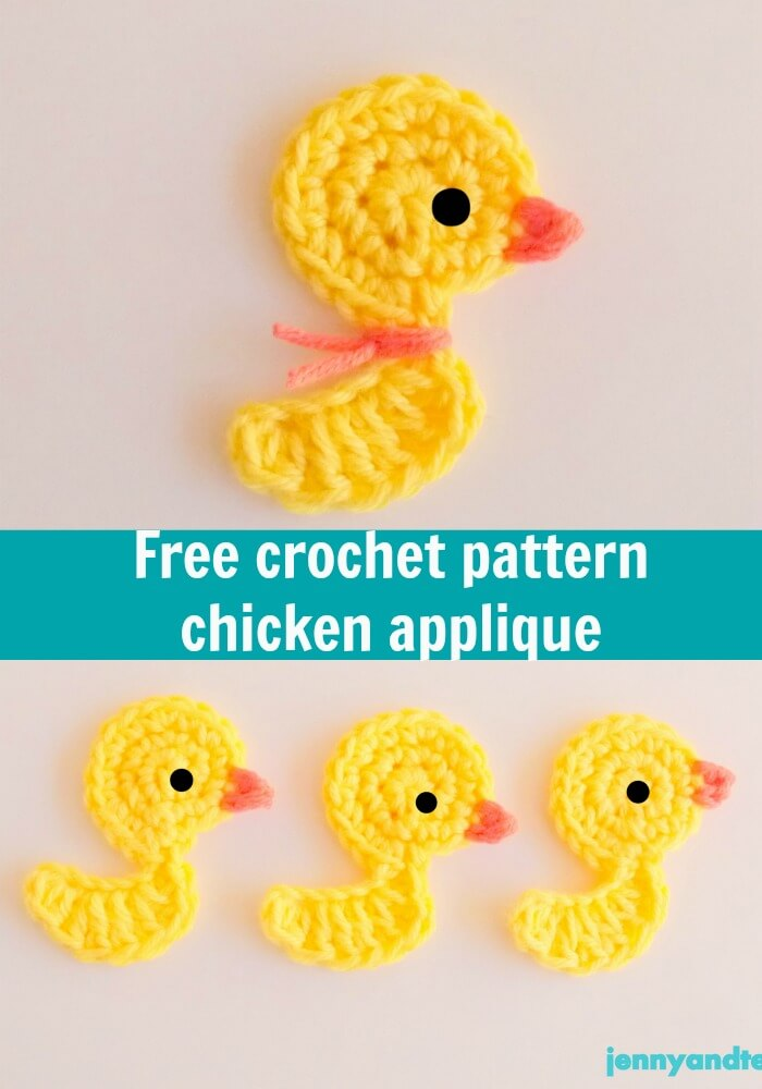 free crochet pattern chicken applique by jennyandteddy