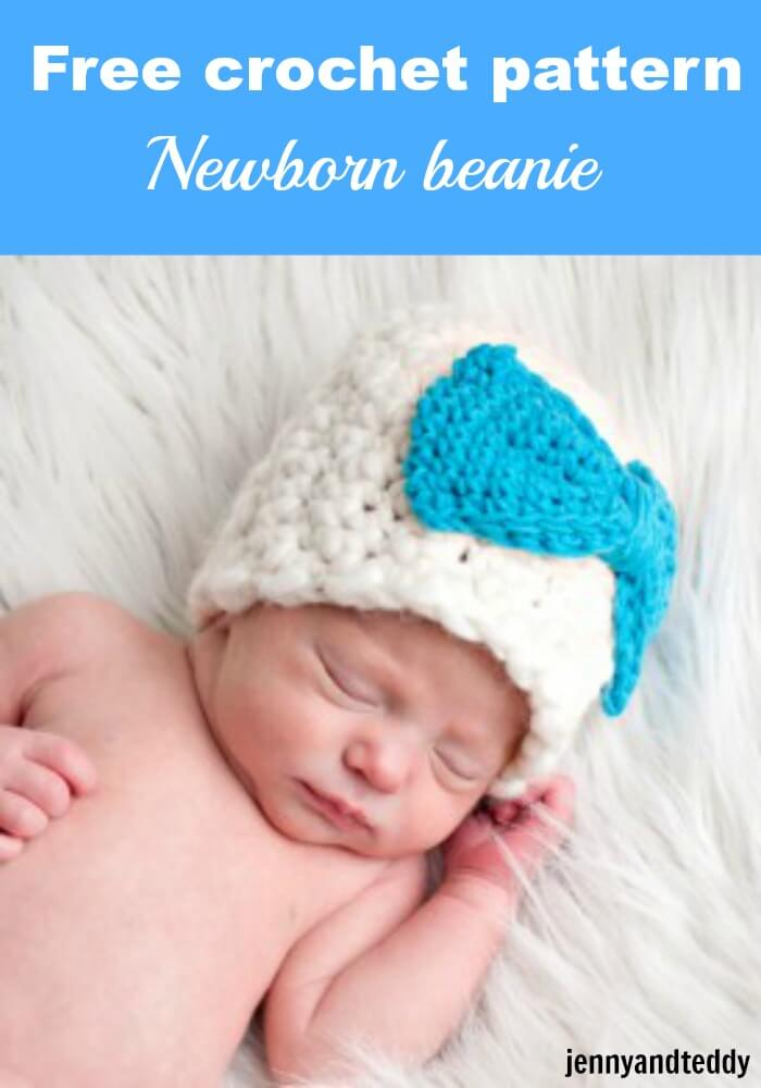 newborn beanie bulky yarn free crochet pattern by jennyandteddy