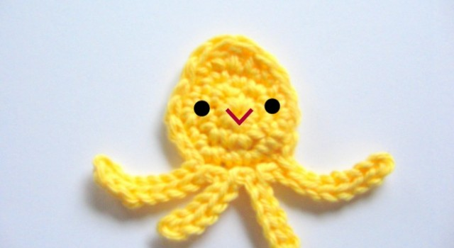 baby octopus or squid crochet applique tutorial