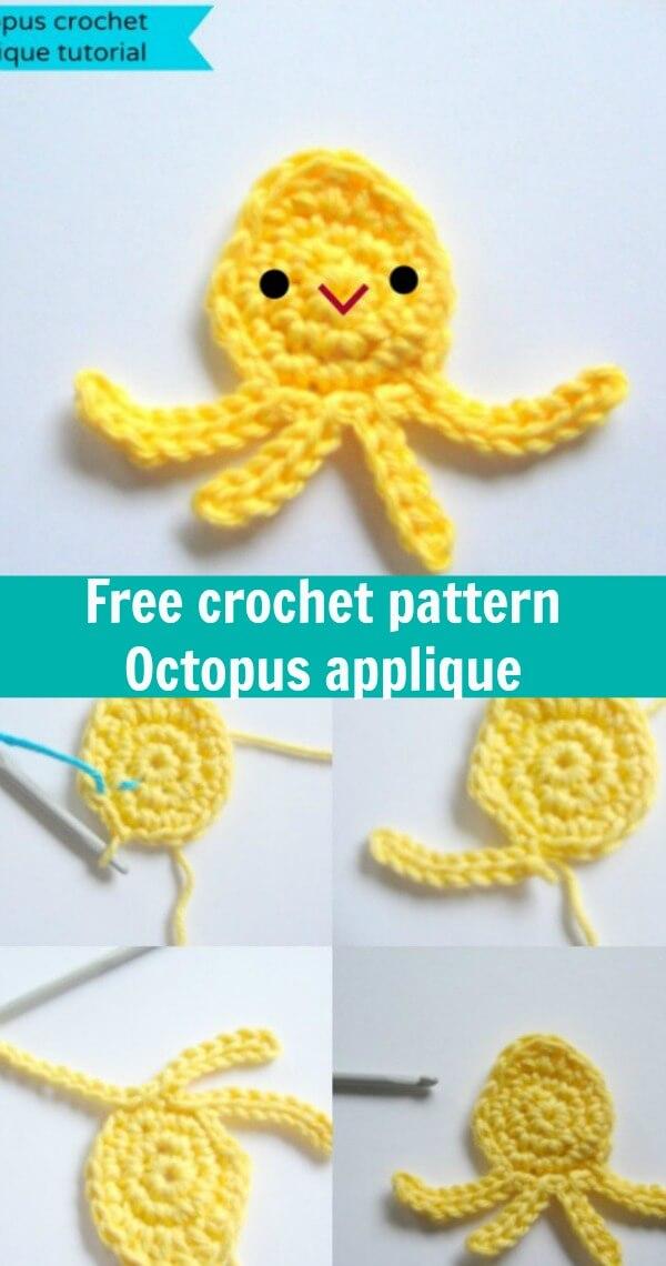 free crochet pattern octopus applique