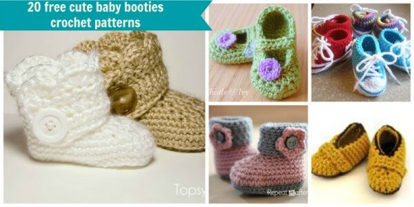 20 free cute and easy crochet baby bootie patterns