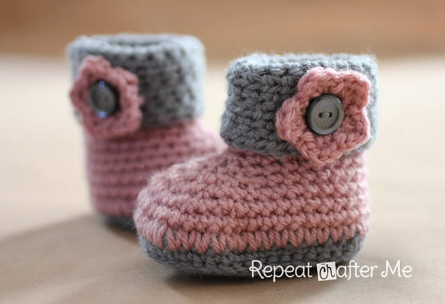 Free Crochet Pattern Of Baby Booties : Gallery For > Baby Booties Crochet Pattern