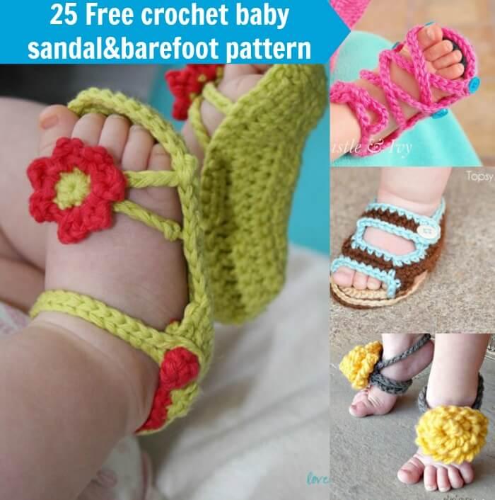 25 free crochet baby sandal&barefoot pattern