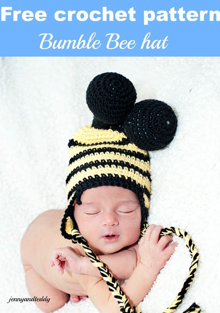 bee crochet hat free pattern by jennyandteddy
