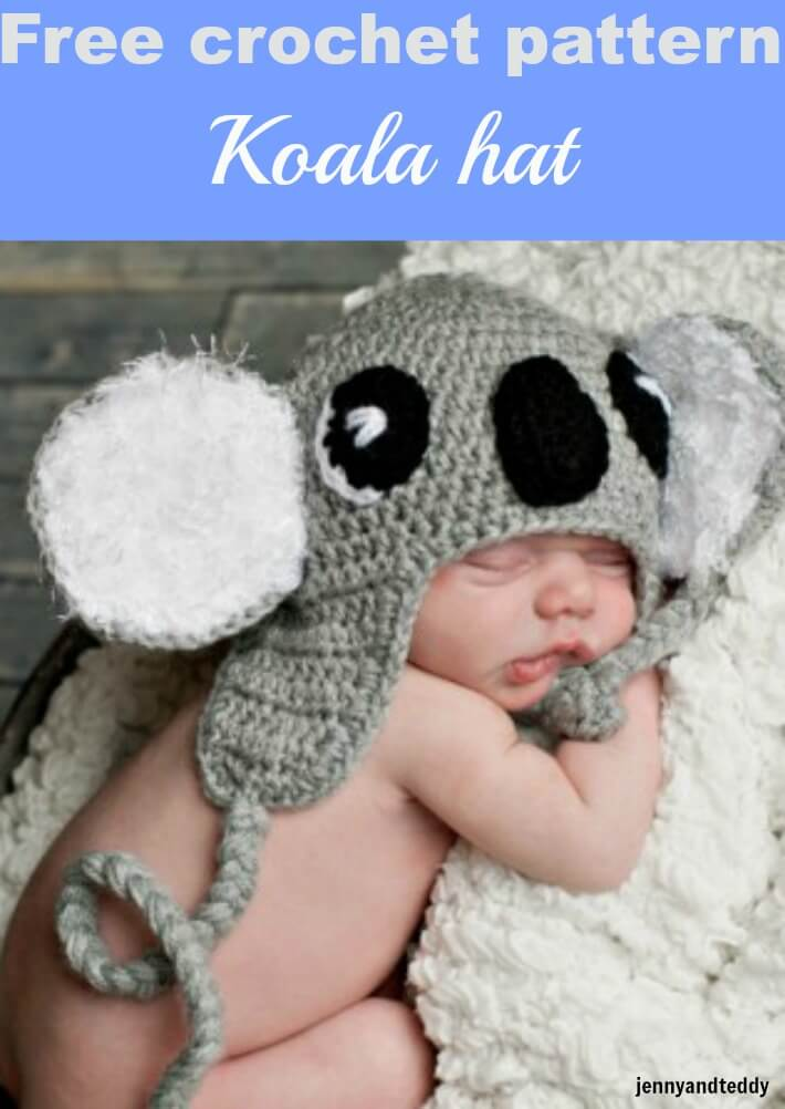 free crochet pattern koala hat by jennyandteddy