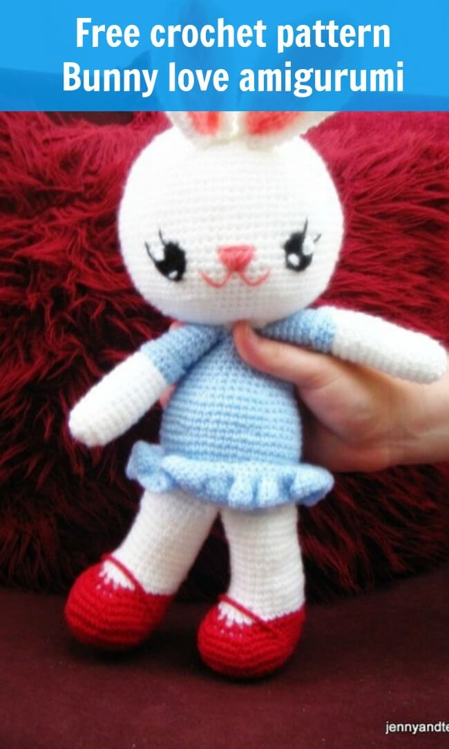 free crochet pattern bunny love amigurumi by jennyandteddy
