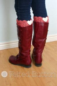 2. easy crochet heart boot cuff pattern