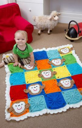 19.baby monkey blanket crochet beginner how to tutorial