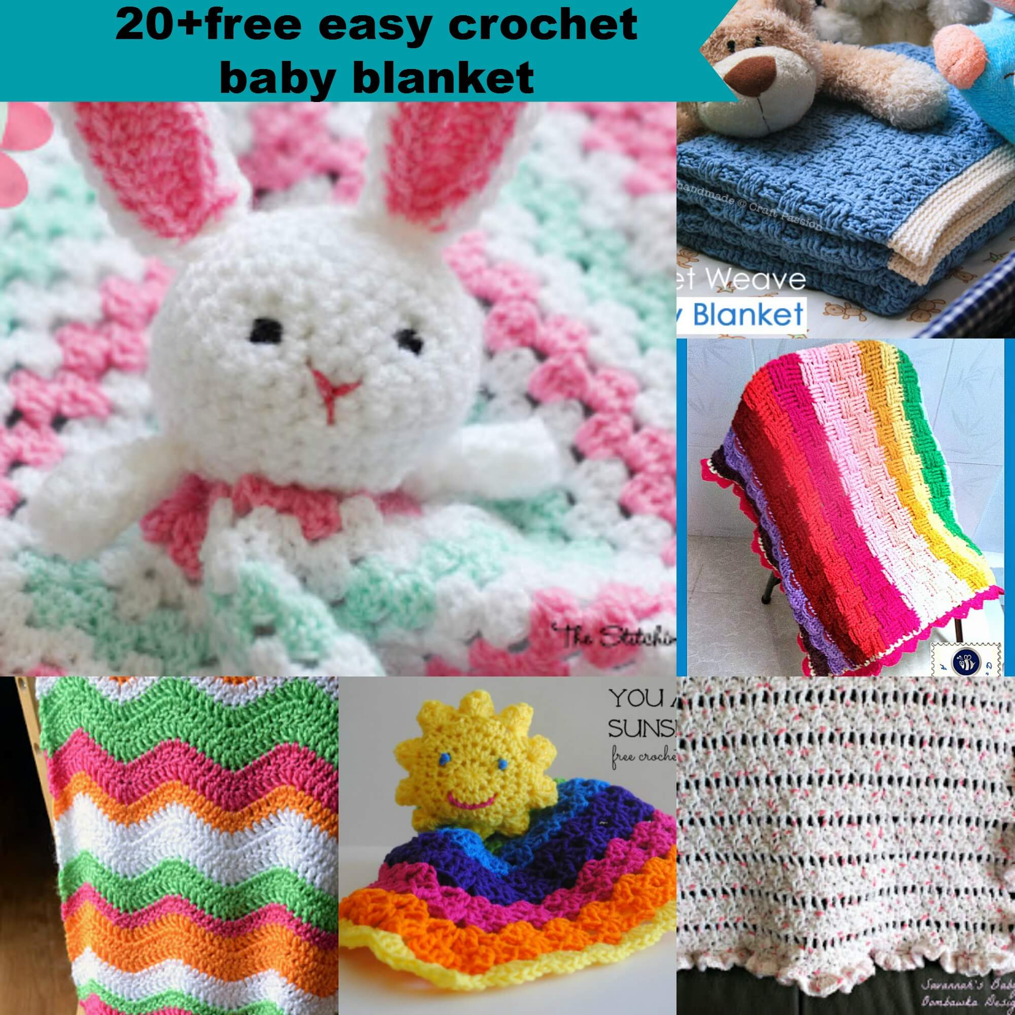 20+free crochet easy baby blanket pattern