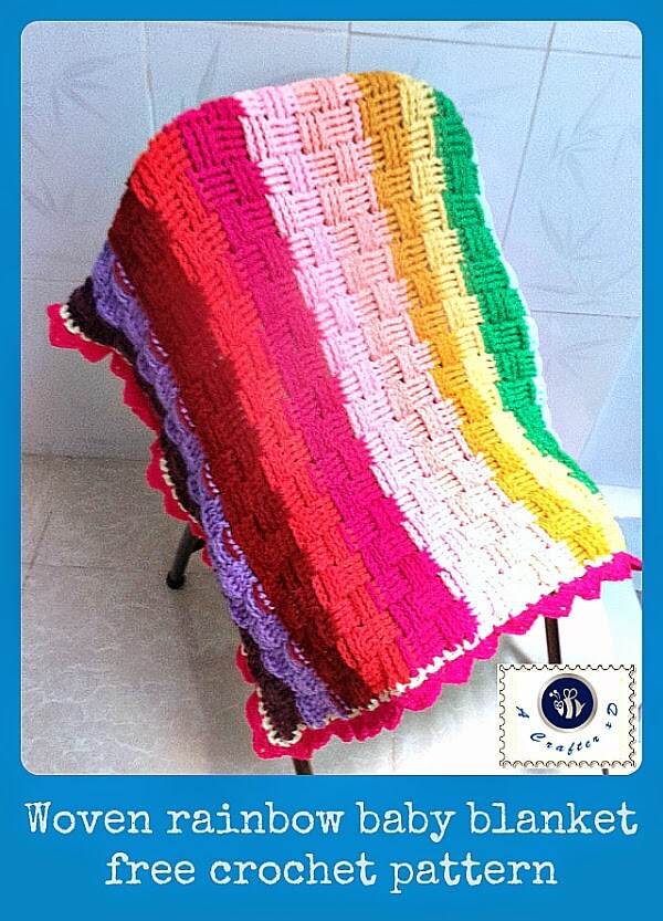 20.woven free crochet baby blanket rainbow summer pattern