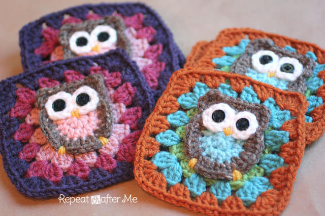 21.crochet free OwlGrannySquare for beginner easy1