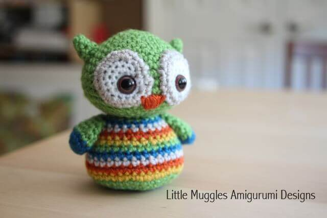 6.beginner owl amigurumi push toy tutorial free pattern