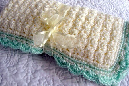 9.shell stitched baby blanket free pattern