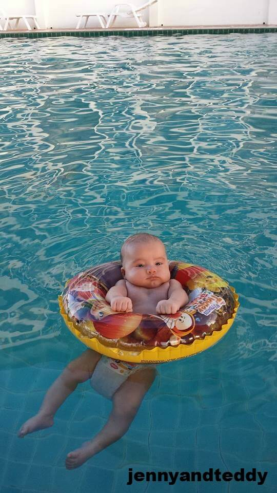 baby 2 month ols swimming