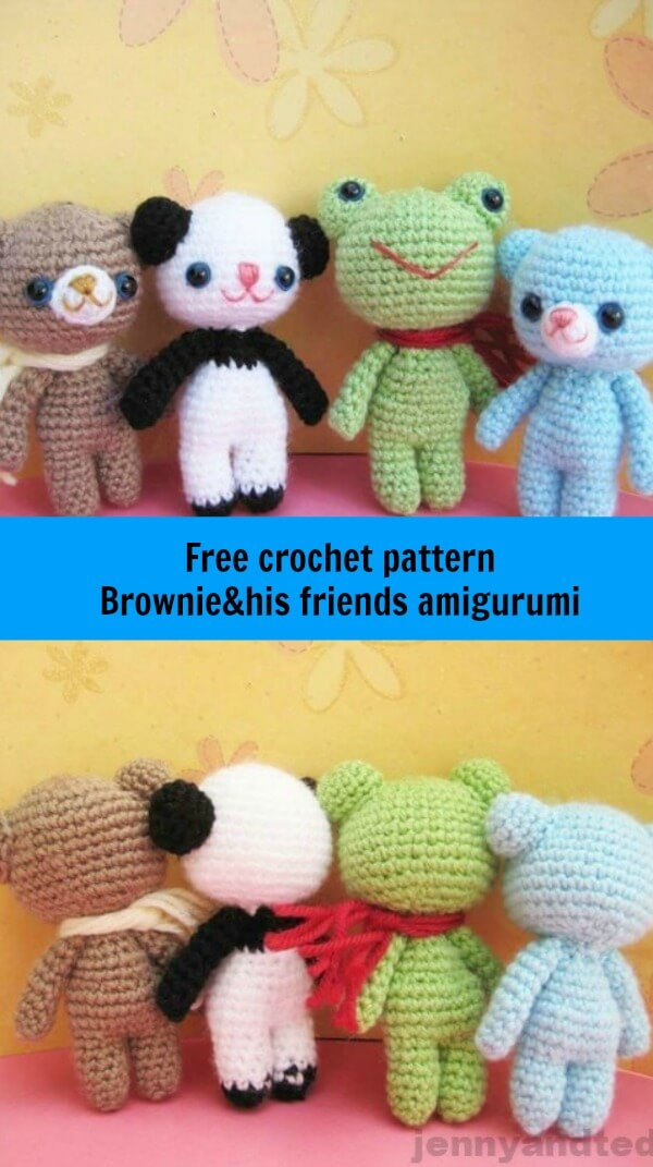 brownie and his friends free amigurumi pattern