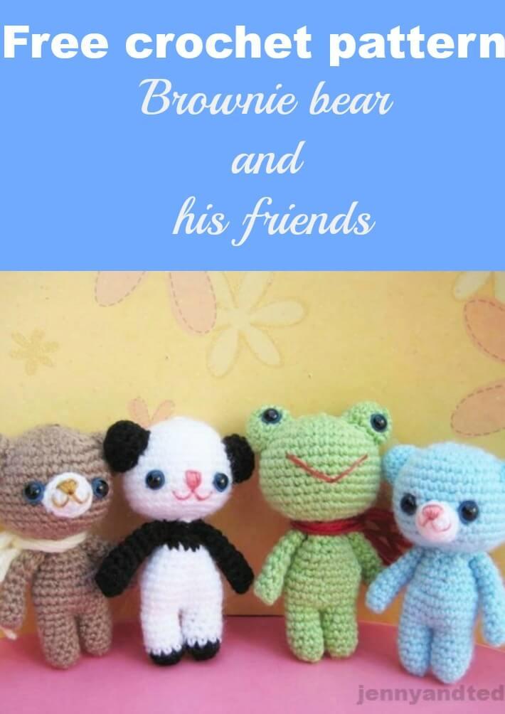 free crochet pattern brownie bear and his friend amigurumi by jennyandteddy