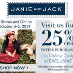 This weekend only, Janie and Jack is offering 25% off your entire purchase
