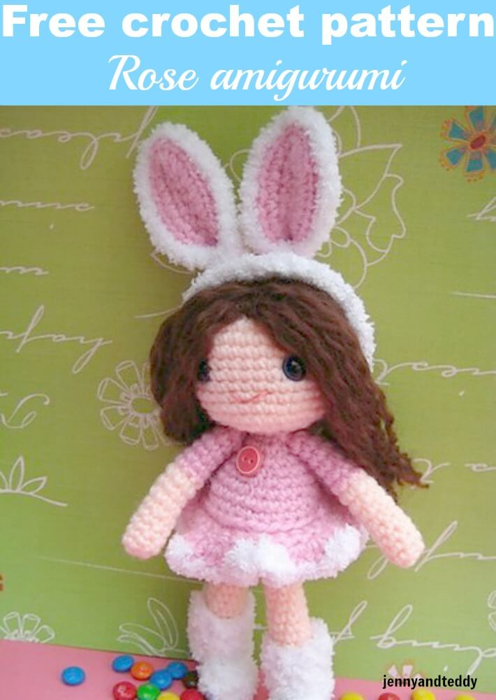 rose crochet doll girl amigurumi free crochet pattern by jennyandteddy