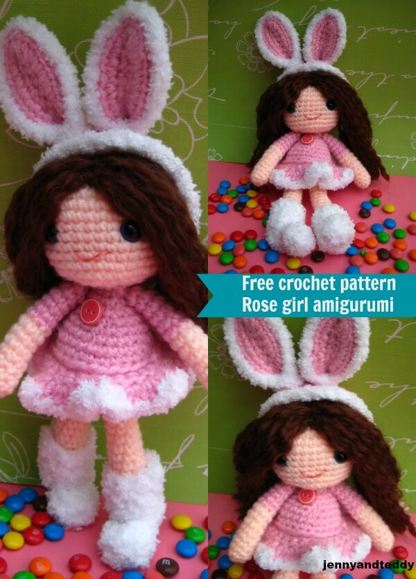 rose girl free amigurum crochet pattern