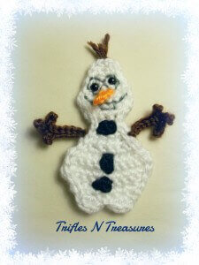15.olaf easy free applique frozen crochet pattern