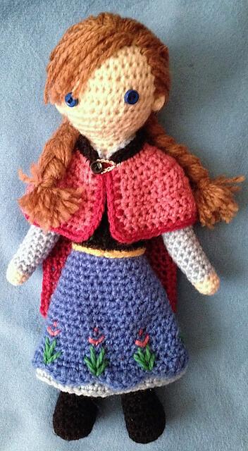 5.Anna FrozenCrocheted amigurumi free Doll Pattern