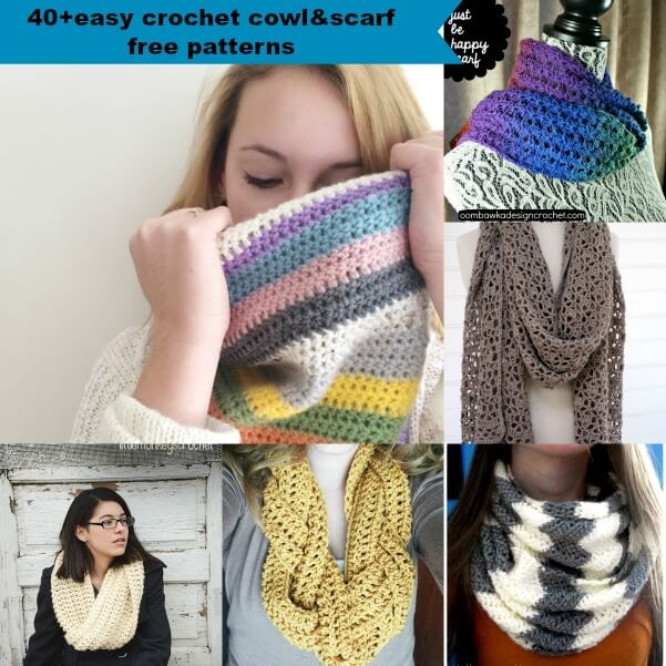 40+easy crochet cowl&scarf free pattern