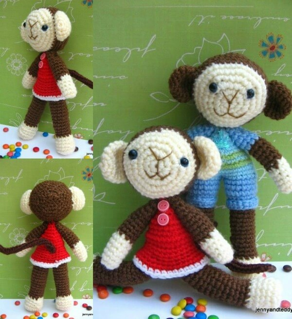 Two Monkey amigurumi-free pattern