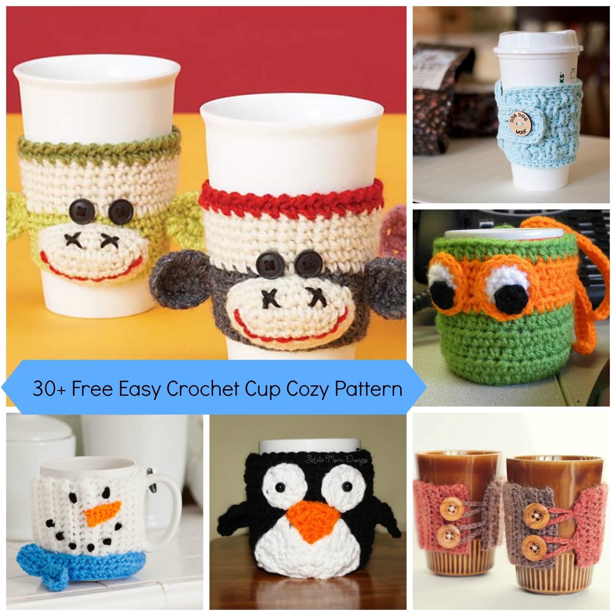30 Free Easy Crochet Cup Cozy Pattern Jennyandteddy