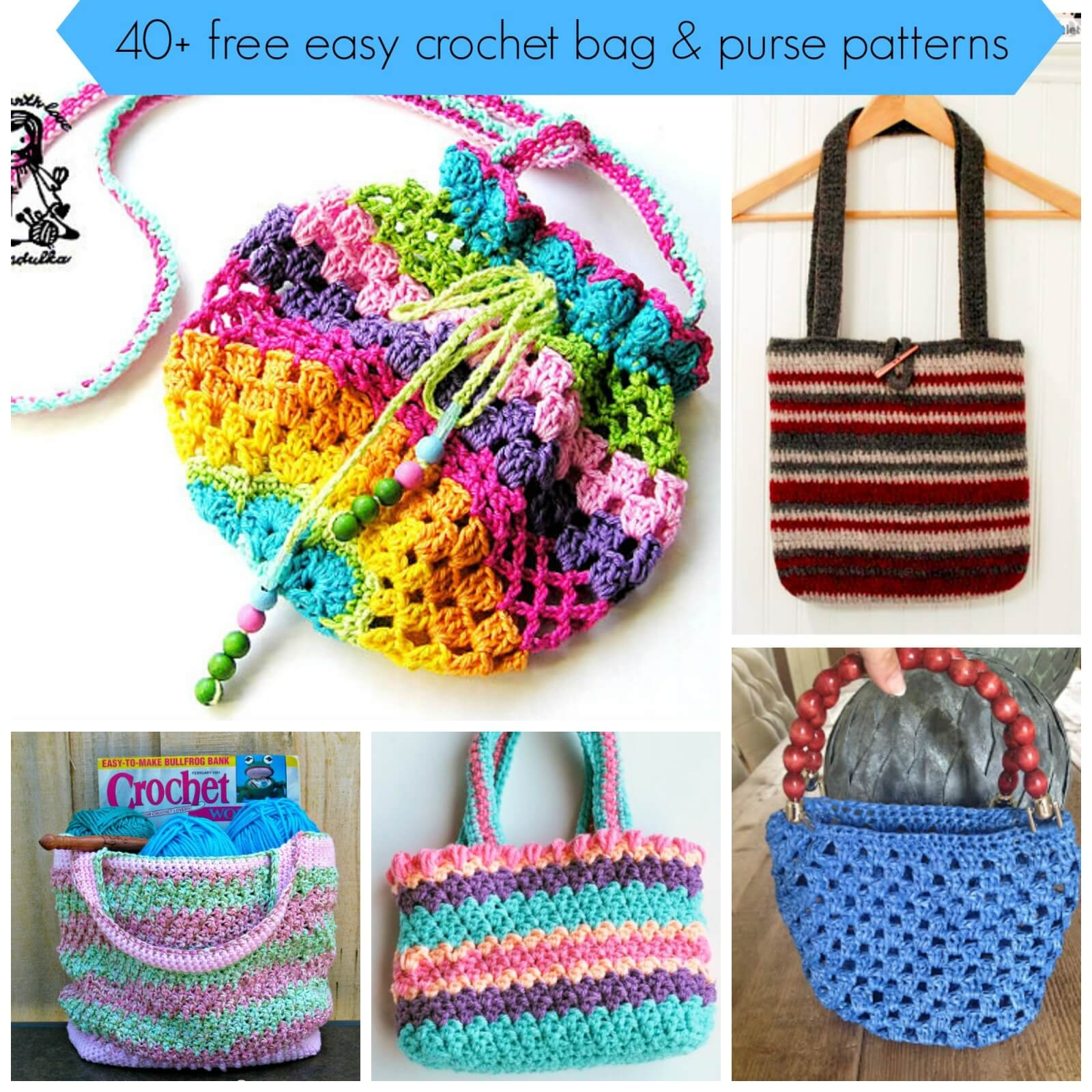 Simple Crochet Bag Pattern : 40+ free easy crochet bag & purse patterns