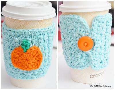 free easy CROCHET pattern STAR STITCH PUMPKIN COFFEE COZY