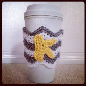 free easy Chevron Coffee Cozy Crochet Pattern