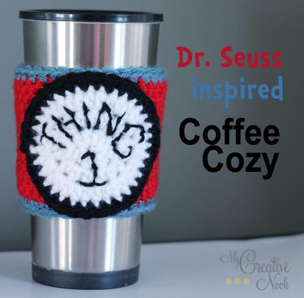 free easy DR. SEUSS INSPIRED COFFEE COZY crochet pattern