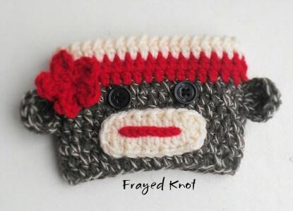 FREE easy crochet pattern Sock Monkey Cup Cozy