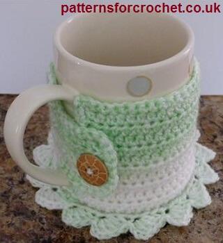Free easy crochet pattern coaster mug cosy