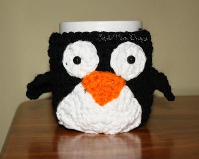free easy Mr. Penguin Mug Cozy free crochet pattern