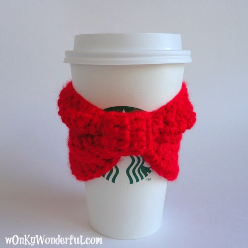 free easy Red Bow Cup Cozy (Free Crochet Pattern)