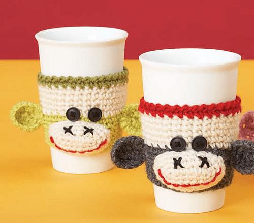 free easy Sock Monkey Cup Cozy by Patons crochet pattern
