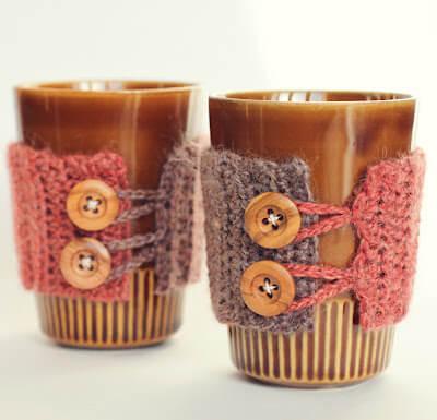 free easy free Mug cozies crochet pattern