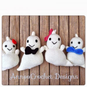 amazing crochet Friendly Ghost Family, Free Pattern