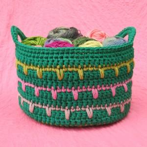 Green Crochet Basket Free Pattern
