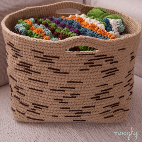 Birch-Bark-Basket Free Crochet Pattern