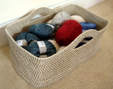 Square Rope Crochet Basket Free Pattern