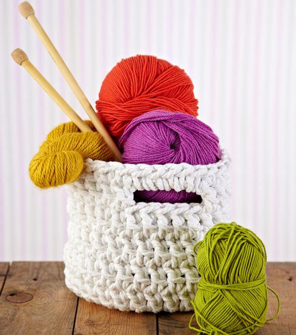 White Crochet Basket Free Pattern