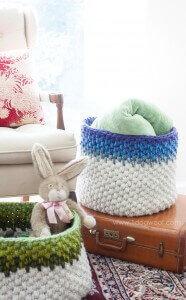 Colorblock Crochet Basket Free Pattern