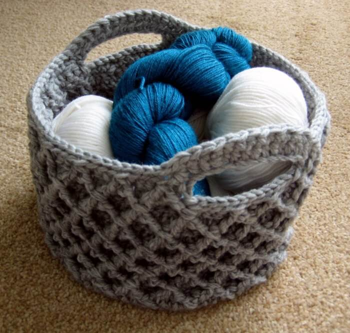 Diamond Trellis Crochet Basket Free Pattern