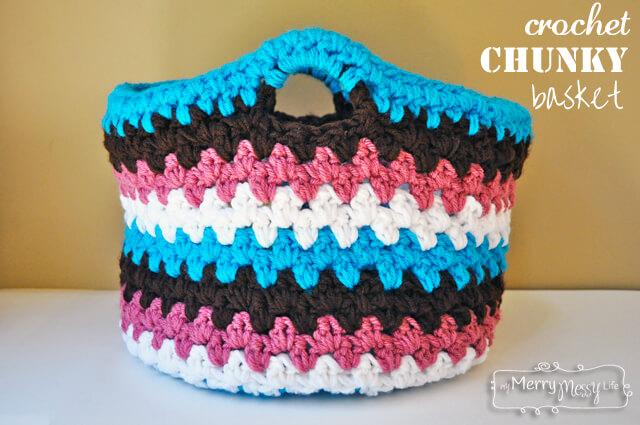 Crochet Chunky Basket Free Pattern