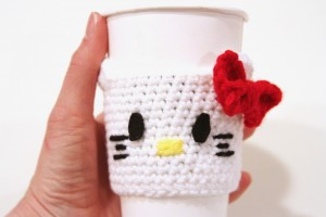 Hello Kitty Coffee Cozy Free Crochet Pattern